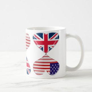 Kissing USA and UK Hearts Flags Art Basic White Mug