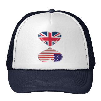 Kissing USA and UK Hearts Flags Art Cap