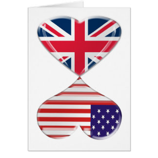 Kissing USA and UK Hearts Flags Art Card