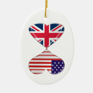 Kissing USA and UK Hearts Flags Art Ceramic Oval Decoration