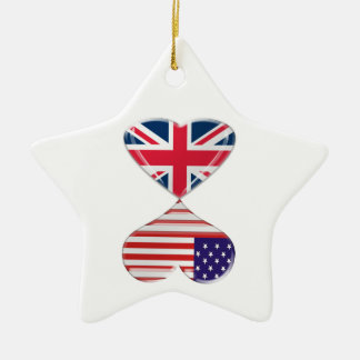 Kissing USA and UK Hearts Flags Art Christmas Ornament