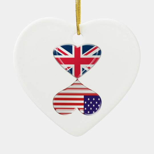 Kissing USA and UK Hearts Flags Art Christmas