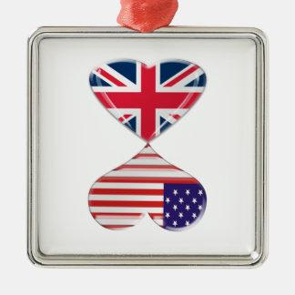 Kissing USA and UK Hearts Flags Art Christmas Ornament