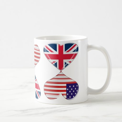 Kissing USA and UK Hearts Flags Art Coffee Mugs