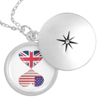 Kissing USA and UK Hearts Flags Art Round Locket Necklace