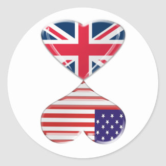 Kissing USA and UK Hearts Flags Art Round Sticker