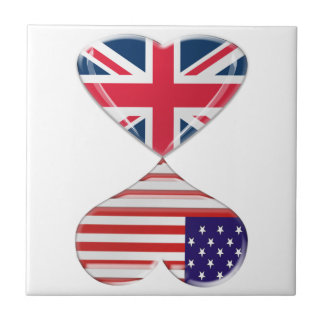 Kissing USA and UK Hearts Flags Art Small Square Tile