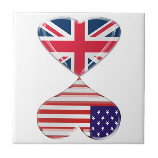 Kissing USA and UK Hearts Flags Art Ceramic Tiles