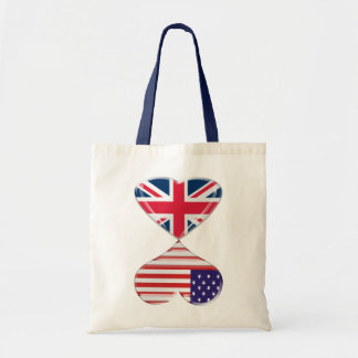 Kissing USA and UK Hearts Flags Art Tote Bag