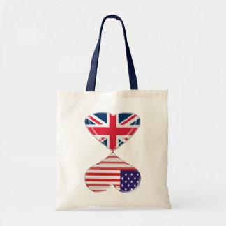 Kissing USA and UK Hearts Flags Art Budget Tote Bag