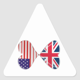 Kissing USA and UK Hearts Flags Art Triangle Sticker