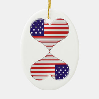 Kissing USA hearts flag art gifts Ceramic Oval Decoration