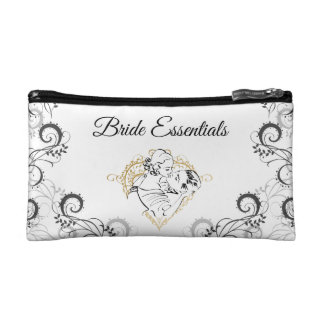 Kissing Vintag Couple Bride Essentials Cosmetic Bag