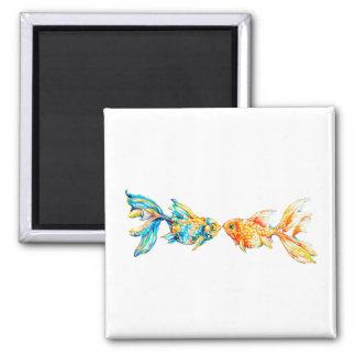 Kissing Watercolor Goldfish Custom Magnet