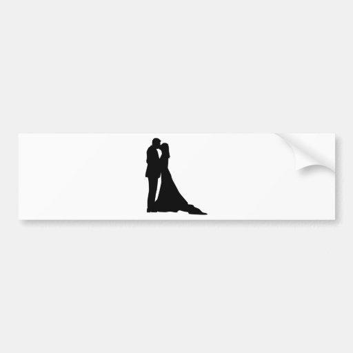 Kissing wedding couple bumper sticker
