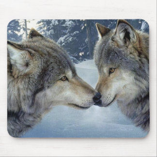 Kissing Wolves Mouse Mat