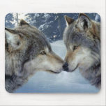 Kissing Wolves Mouse Pad