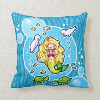 Kissy Bubble Cute Mermaid Sea Creatures Custom Thr Throw Cushions