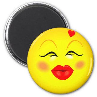 Kissy Face Smiley Girl 6 Cm Round Magnet