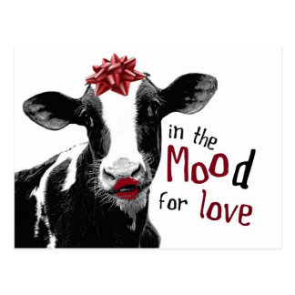 Kissy Lips Cow in the MOOd for Love Postcard