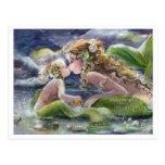 Kissy mermaid & child Postcard