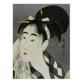 Kitagawa Utamaro's Ase O Fuku Onna postcard