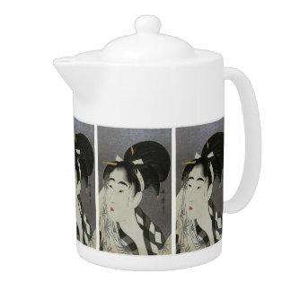 Kitagawa Utamaro's Ase O Fuku Onna teapot