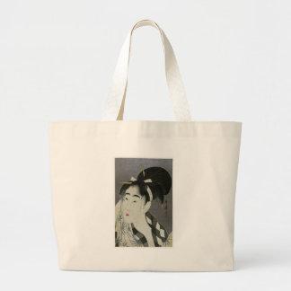Kitagawa Utamoro s Woman Wiping Sweat Canvas Bags