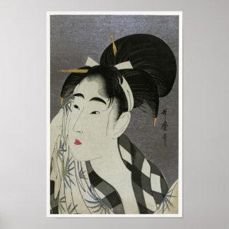 """Kitagawa Utamoro's """"Woman Wiping Sweat"""" Poster"""