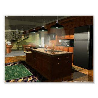 Kitchen and Living Room Interior Print