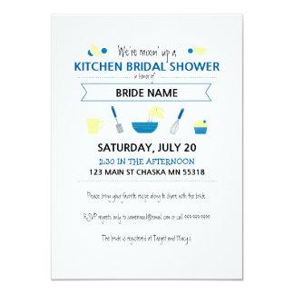 Kitchen Bridal Shower (Striped Back) 11 Cm X 16 Cm Invitation Card