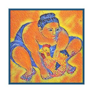 kitchen chicken mosaic canvas print