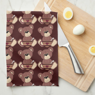 Kitchen Coffee Bear tiled towel