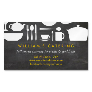 Kitchen Collage on Chalkboard Magnetic Magnetic Business Cards