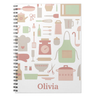 Kitchen Cooking Accessories and Utensils Pattern Notebook
