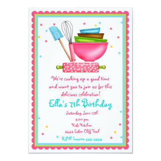 "Kitchen Cooking Birthday Invitations 5"" X 7"" Invitation Card"