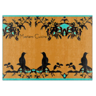 Kitchen Cutting Board -3 Birds on Orange/Turquoise