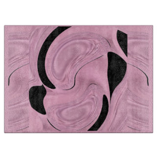 Kitchen Cutting Board - Pink Satin & Black Pattern