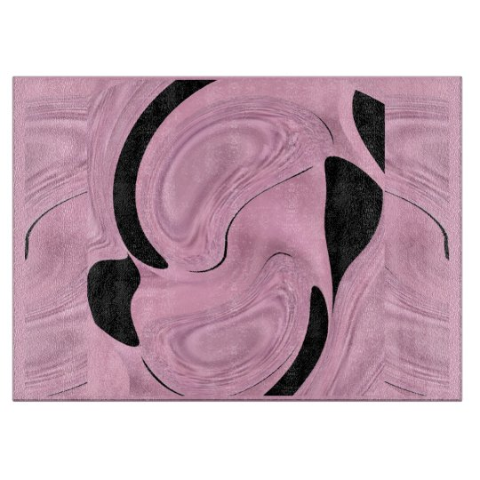 Kitchen Cutting Board - Pink Satin & Black