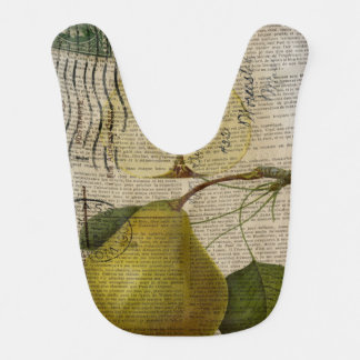 kitchen decor vintage botanical print pears bib
