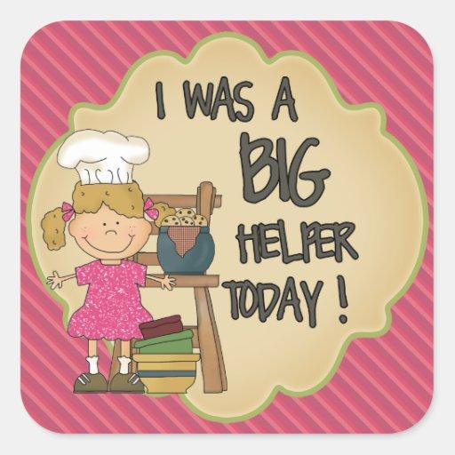 Kitchen Helper Reward Sticker Pink Stripes