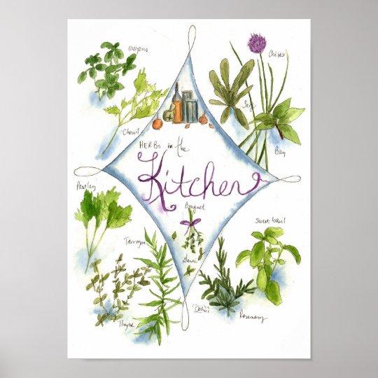 Kitchen Herb Garden Watercolor Basil Poster
