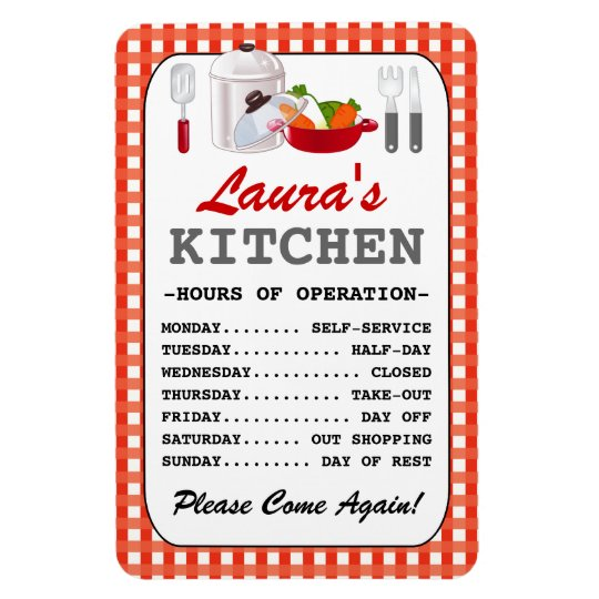Kitchen Hours (Personalised) Rectangular Photo Magnet