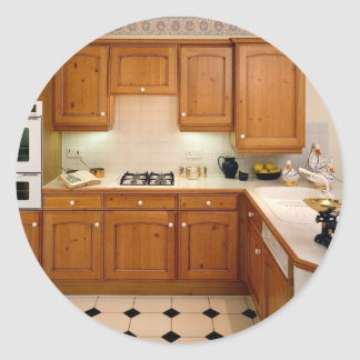 Kitchen interior with breakfast bar and oven classic round sticker