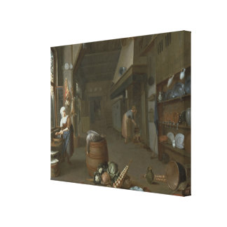 Kitchen interior with two maids preparing food canvas print