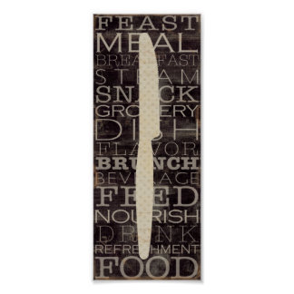 Kitchen Knife with Words Poster