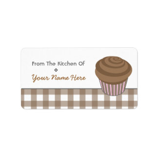 Kitchen Label - Chocolate Cupcake and Gingham Address Label