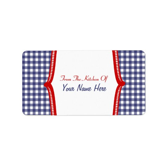 "Kitchen Label- ""From The Kitchen Of"" Blue Gingham Address Label"