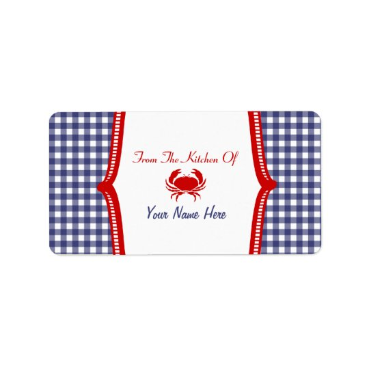 "Kitchen Label- ""From The Kitchen Of""  Crab Label"