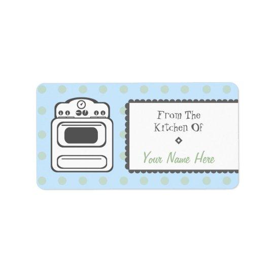 Kitchen Label - White Retro Stove Address Label